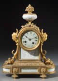 Timepieces:Clocks, A Louis XV-Style Gilt Bronze Mantel Clock Mounted with Celadon Porcelain Pate-sur-Pate Panels, late 19th-early 20th century...