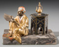 Decorative Arts, Continental:Other , An Austrian Cold-Painted Bronze and Marble Figural Inkwell: TheScribe. 4-1/8 h x 5-5/8 w x 4-1/8 d inches (10.5 x 1...
