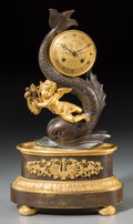 Clocks & Mechanical:Clocks, A French Second Empire Gilt and Patinated Bronze Figural Putto and Dolphin Mantel Clock, late 19th century with later elemen...