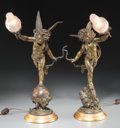 Lighting:Lamps, A Pair of Beaux Arts Figural Lamps after Emile Bruchon, early 20th century. 19-3/4 inches high (50.2 cm). ... (Total: 2 Items)