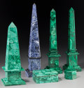 Decorative Arts, Continental:Other , Six Malachite and Sodalite Obelisks and Desk Wares. 16-1/8 incheshigh (41.0 cm) (tallest, obelisk). ... (Total: 6 Items)
