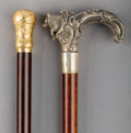 Decorative Arts, Continental:Other , Two Mahogany, Silver and 18K Gold-Mounted Canes, late 19th century.41-1/8 inches high (104.5 cm) (taller). ... (Total: 2 Items)