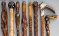 Decorative Arts, Continental:Other , Eight Folk Art Carved Wood Canes. 38-1/4 inches high (97.2 cm)(tallest). ... (Total: 8 Items)
