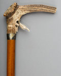 Decorative Arts, Continental:Other , A German Cane with Grotesque Carved Antler Handle, late 19thcentury. 36 inches high (91.4 cm). ...