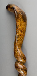 Decorative Arts, Continental:Other , A Carved Wood Folk Art Cobra Cane. 37-1/2 inches high (95.3 cm)....