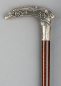 Decorative Arts, Continental:Other , A Mahogany and German Silver-Mounted Cane with Automobile RacingMotif, circa 1920. Marks to handle: (crescent), (crown), ...