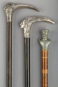 Decorative Arts, Continental:Other , Three German Silver and Pewter-Mounted Figural Canes, late19th-early 20th century. Marks: (various). 36-1/2 inches high(92... (Total: 3 Items)