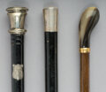 Decorative Arts, Continental:Other , Three Silver and Bone-Mounted Sword and Vial Canes , 20th century.Marks: (various). 37-1/4 inches high (94.6 cm).