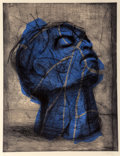 Fine Art - Work on Paper:Print, William Kentridge (b. 1955). Blue Head, 1993-98. Drypointwith handcoloring on wove paper. 40-1/4 x 31 inches (102.2 x 7...