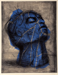 William Kentridge (b. 1955) Blue Head, 1993-98 Drypoint with handcoloring on wove paper 40-1/4 x