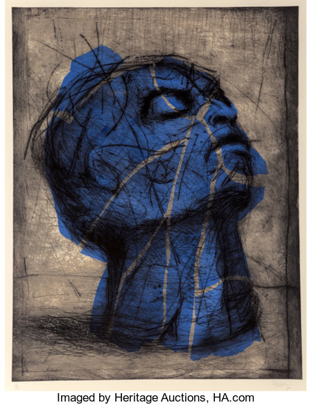 William Kentridge (b. 1955)Blue Head, 1993-98Drypoint with handcoloring on wove paper40-1/4 x 31 inches (102.2 x 7...