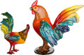 Other, Two Large Mexican Papier Mache Roosters. 30-3/8 h x 26 w x 26 d inches (77.2 x 66.0 x 66.0 cm) (larger). ... (Total: 2 Items)