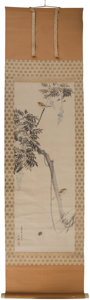 Asian:Japanese, A Nishiyama Hoen Japanese Scroll Watercolor Painting and Box, lateEdo Period. 50 inches high x 17-3/4 inches wide (127 x 45...