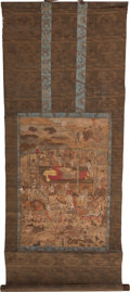 Asian:Chinese, A Japanese Pictorial Scroll, Edo Period. 17 inches high x 11 incheswide (43.2 x 27.9 cm) (work). 38 inches high x 15-1/8 in...