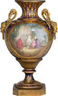 Ceramics & Porcelain, Continental:Other , A French Sevres-Style Porcelain and Gilt Bronze Urn , late 19thcentury with later elements, now mounted as a lamp base. 25-...
