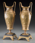 Decorative Arts, French:Other , A Pair of Ferdinard Levillain Classical Gilt Bronze Urns, circa 1880. Marks: F. LEVILLAIN. 16-1/4 inches high (41.3 cm)... (Total: 2 Items)
