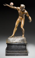 Sculpture, E. Hamburger (German, 1890-1914). Athlete. Bronze with brown patina. 18 inches (45.7 cm) high on a 6 inches (15.2 cm) h...