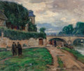 Fine Art - Painting, American, Joseph Kleitsch (American, 1882-1931). Vernon, France, 1927. Oil on canvas. 21 x 25-1/4 inches (53.3 x 64.1 cm). Signed,...
