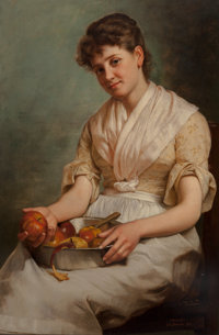 John George Brown (American, 1831-1913) Girl Peeling Apples, circa 1890 Oil on canvas 30 x 20 inc