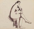 Fine Art - Work on Paper, Milton Avery (American, 1885-1965). Seated Nude. Ink on paper laid on board. 14 x 16-3/4 inches (35.6 x 42.5 cm) (sheet)...