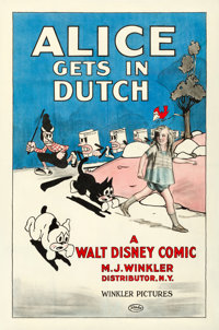 "Alice Gets in Dutch (Winkler, 1924). One Sheet (27"" X 41"")"