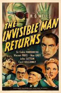 """The Invisible Man Returns (Universal, 1940). One Sheet (27"""" X 41"""")"""