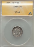 Bust Dimes: , 1835 10C VF30 ANACS. NGC Census: (17/445). PCGS Population:(67/668). Mintage 1,410,000. ...