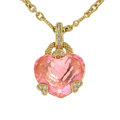 Estate Jewelry:Necklaces, Pink Crystal, Diamond, Gold Pendant-Necklace, Judith Ripka. ...