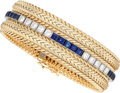 Estate Jewelry:Bracelets, Diamond, Sapphire, Platinum, Gold Bracelet. ...