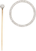 Estate Jewelry:Brooches - Pins, Diamond, Platinum Brooch and Diamond, Platinum Topped-Gold Stickpin. ... (Total: 2 Items)