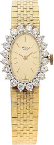 Estate Jewelry:Watches, Chopard Lady's Diamond, Gold Integral Bracelet Watch. ...