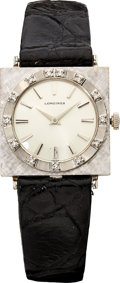 Estate Jewelry:Watches, Longines Unisex Diamond, White Gold Watch. ...