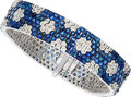 Estate Jewelry:Bracelets, Diamond, Sapphire, White Gold Bracelet. ...
