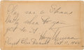 Autographs:U.S. Presidents, Harry S. Truman Autograph Note Signed....