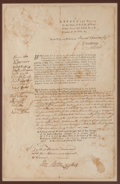 Autographs:Statesmen, [Revolutionary War]. Massachusetts Bay Executive Council: Judicial Appointment Signed by Sixteen Members....
