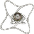 Estate Jewelry:Rings, South Sea Cultured Pearl, Diamond, White Gold Ring, Robert Wan. ...