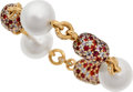 Estate Jewelry:Bracelets, South Sea Cultured Pearl, Sapphire, Diamond, Gold Bracelet...