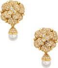 Estate Jewelry:Earrings, Diamond, Cultured Pearl, Gold Earrings, Chanel. ...