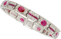 Estate Jewelry:Bracelets, Art Deco Diamond, Ruby, Platinum Bracelet The ...