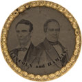 Political:Ferrotypes / Photo Badges (pre-1896), Lincoln & Hamlin: Ferrotype Jugate....
