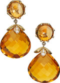 Estate Jewelry:Earrings, Citrine, Diamond, Gold Earrings, Frank Ancona. ...
