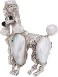 Estate Jewelry:Brooches - Pins, Freshwater Cultured Pearl, Black Onyx, White Gold Brooch, Ruser . ...