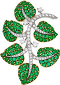 Estate Jewelry:Brooches - Pins, Emerald, Diamond, Platinum, Gold Brooch . ...