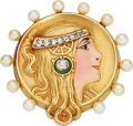 Estate Jewelry:Brooches - Pins, Art Nouveau Diamond, Cultured Pearl, Gold Brooch. ...