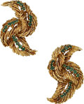 Estate Jewelry:Earrings, Emerald, Gold Earrings. ...