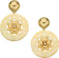 Estate Jewelry:Earrings, Diamond, Gold Earrings The earrings feature fu...