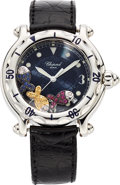 Estate Jewelry:Watches, Chopard Lady's Ruby, Sapphire, Stainless Steel Happy Sport, LeatherStrap Watch. ...