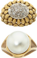 Estate Jewelry:Rings, Diamond, Mabe Pearl, Gold Rings. ... (Total: 2 Items)