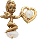 Estate Jewelry:Brooches - Pins, Cultured Pearl, Sapphire, Gold Brooch. ...