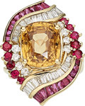 Estate Jewelry:Rings, Zircon, Ruby, Diamond, Gold Ring, Sarosi. ...